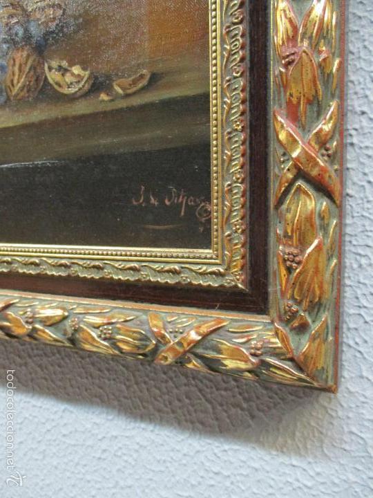 Arte: Antiguo óleo sobre tela - Bodegón - firmado J. de Sitjar - enmarcado - finales S. XIX - Foto 7 - 55899460