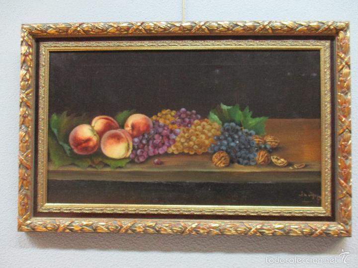 Arte: Antiguo óleo sobre tela - Bodegón - firmado J. de Sitjar - enmarcado - finales S. XIX - Foto 11 - 55899460