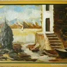 Arte: CUADRO OLEO/TABLA PAISAJE ABOCETADO SOBRE FONDO DORADO FIRMADO M. MORENO. AÑOS 60 VINTAGE. Lote 55924587