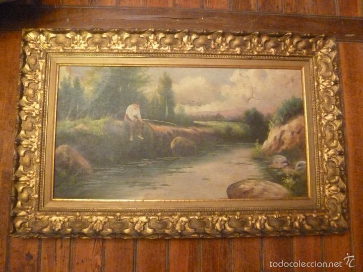 OLEO SOBRE LIENZO PESCADOR (Arte - Pintura - Pintura al Óleo Antigua sin fecha definida)