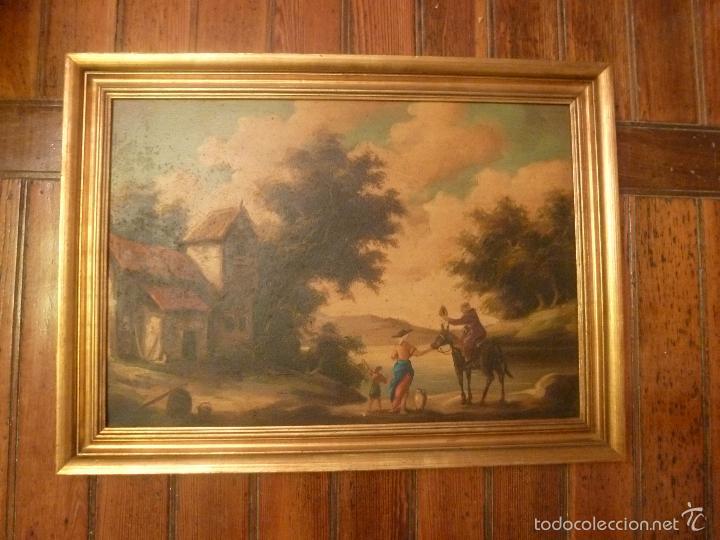 OLEO SOBRE LIENZO PERSONAJE A CABALLO Y CASAS (Arte - Pintura - Pintura al Óleo Antigua sin fecha definida)
