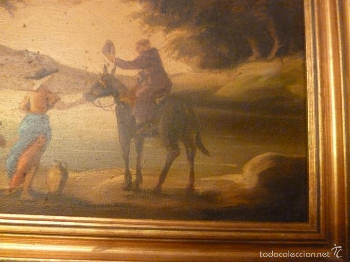 Arte: oleo sobre lienzo personaje a caballo y casas - Foto 2 - 55977088