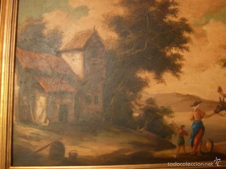 Arte: oleo sobre lienzo personaje a caballo y casas - Foto 5 - 55977088