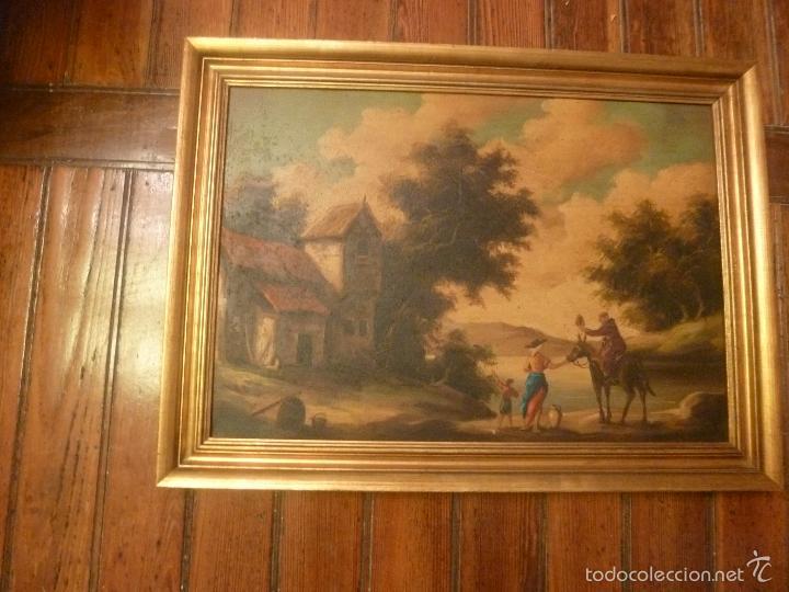 Arte: oleo sobre lienzo personaje a caballo y casas - Foto 8 - 55977088