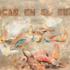 Arte: VICTOR MIRA (ZARAGOZA, 1949 – MUNICH, 2003). FOCAS EN EL EBRO. 1976-1977. ÓLEO/PAPEL. 50 X 65 CM.. Lote 56024271