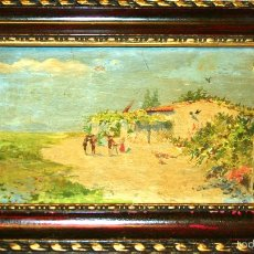 Arte: E2-056. CASA DE CAMPO ANDALUZA. ÓLEO SOBRE TABLA. FIRMA ILEGIBLE. ESPAÑA. XIX.. Lote 55924893