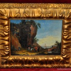 Arte: ESCUELA ITALIANA DE FINALES DEL SIGLO XVIII. OLEO SOBRE TABLA. PAISAJE CON PERSONAJES. Lote 56063902