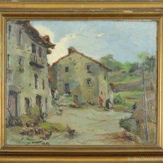 Arte: A1-059. CALLE DE PUEBLO. ÓLEO SOBRE TABLA. JOAQUIN ASENSIO. DEDICADO. 1951. . Lote 56093300