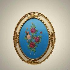 Art - Precioso Cuadro al óleo Bodegón Flora sobre tablex con marco pan de oro - 56098982