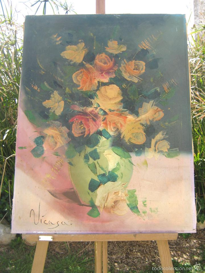 73 CM . PINTURA AL OLEO FIRMADA - BODEGON NATURALEZA MUERTA JARRON CELADON CON FLORES (Arte - Pintura - Pintura al Óleo Contemporánea )