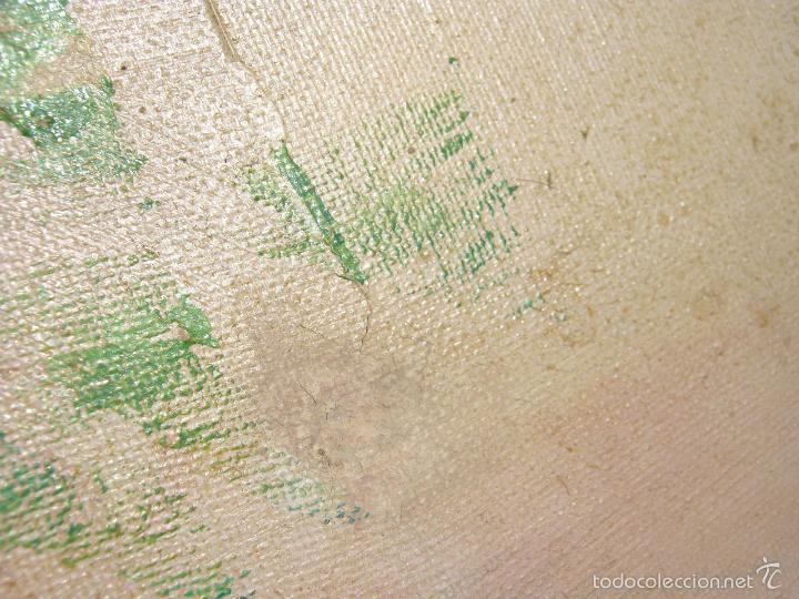 Arte: 73 cm . Pintura al oleo firmada - Bodegon Naturaleza muerta jarron celadon con flores - Foto 2 - 56125572