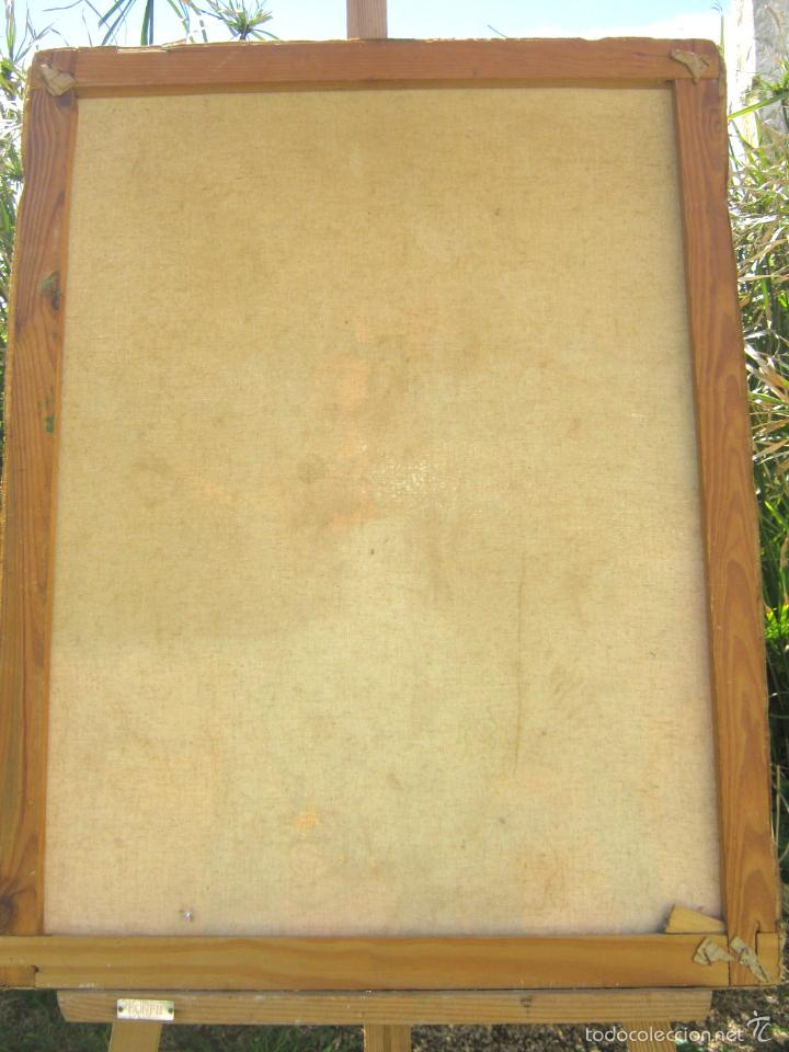 Arte: 73 cm . Pintura al oleo firmada - Bodegon Naturaleza muerta jarron celadon con flores - Foto 3 - 56125572