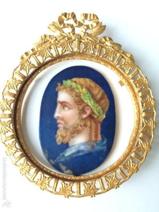 PINTURA ESMALTADA SOBRE PORCELANA C.1850 MARCO BRONCE DORADO AL MERCURIO (Arte - Pintura - Pintura al Óleo Antigua sin fecha definida)
