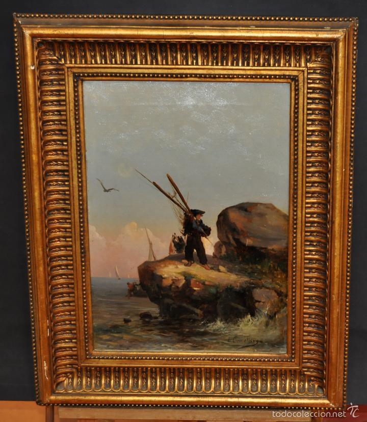 LEON COMMELERAN (PERPIGNAN, 1830 - BARCELONA, ACTIVO EN 1886) OLEO TELA. MARINA CON PESCADORES (Arte - Pintura - Pintura al Óleo Moderna siglo XIX)