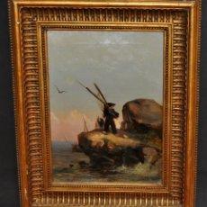 Arte: LEON COMMELERAN (PERPIGNAN, 1830 - BARCELONA, ACTIVO EN 1886) OLEO TELA. MARINA CON PESCADORES. Lote 56232631