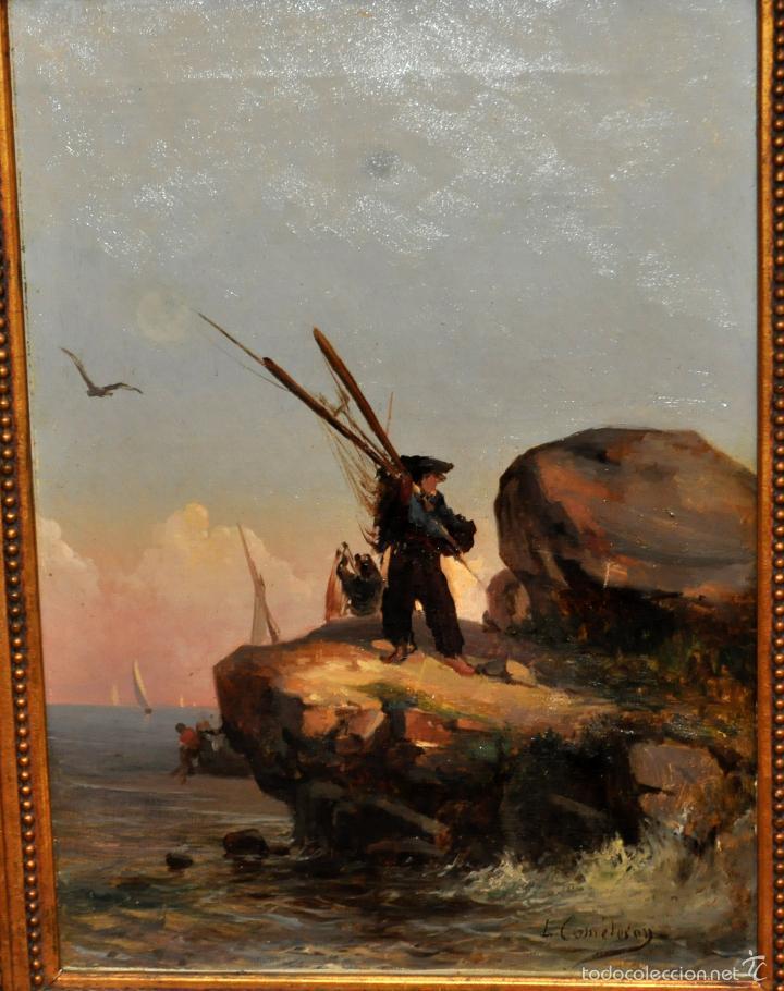 Arte: LEON COMMELERAN (Perpignan, 1830 - Barcelona, activo en 1886) OLEO TELA. MARINA CON PESCADORES - Foto 2 - 56232631