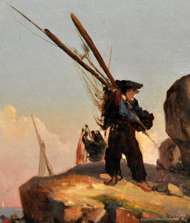 Arte: LEON COMMELERAN (Perpignan, 1830 - Barcelona, activo en 1886) OLEO TELA. MARINA CON PESCADORES - Foto 3 - 56232631
