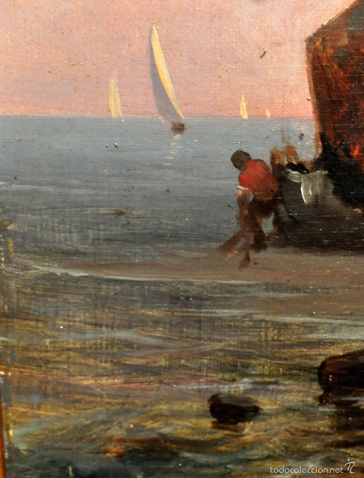 Arte: LEON COMMELERAN (Perpignan, 1830 - Barcelona, activo en 1886) OLEO TELA. MARINA CON PESCADORES - Foto 4 - 56232631