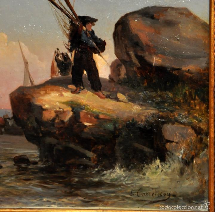 Arte: LEON COMMELERAN (Perpignan, 1830 - Barcelona, activo en 1886) OLEO TELA. MARINA CON PESCADORES - Foto 5 - 56232631