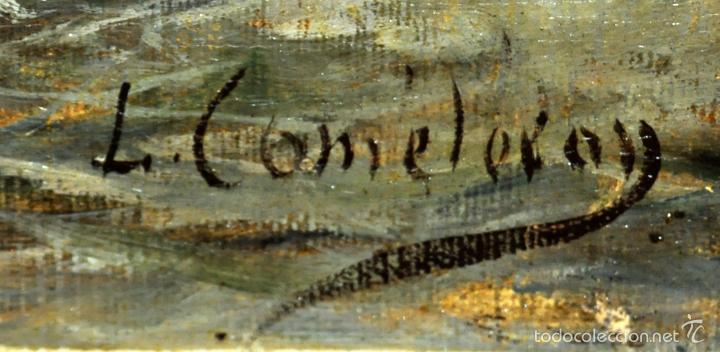 Arte: LEON COMMELERAN (Perpignan, 1830 - Barcelona, activo en 1886) OLEO TELA. MARINA CON PESCADORES - Foto 6 - 56232631