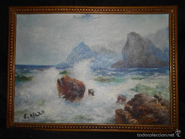 Arte: Marina, olas rompiendo contra las rocas. Óleo sobre lienzo pegado a cartón, firmado E. Mazo. - Foto 2 - 56273552