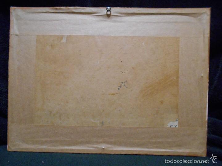 Arte: Marina, olas rompiendo contra las rocas. Óleo sobre lienzo pegado a cartón, firmado E. Mazo. - Foto 3 - 56273552