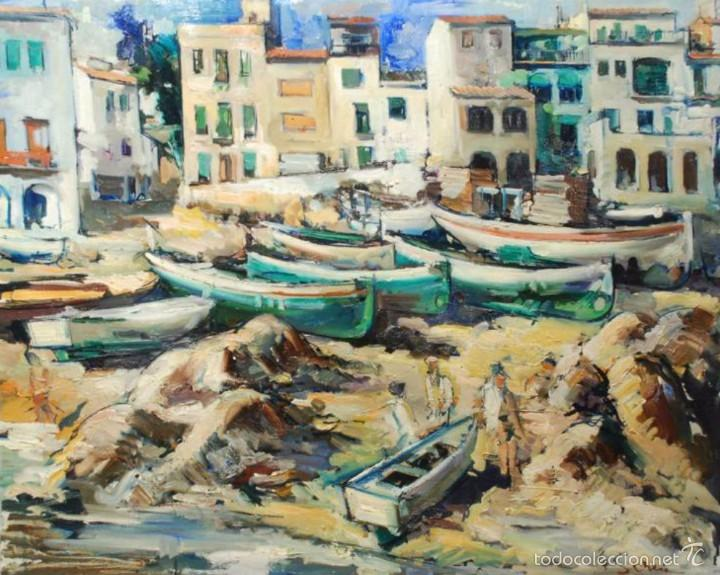JOAN SERRA MELGOSA ÓLEO LIENZO 81X100 CALELLA DE PALAFRUGELL (Arte - Pintura - Pintura al Óleo Contemporánea )