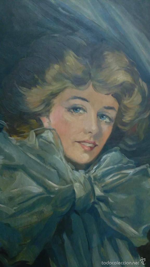 Arte: Mujer con lazo, Siglo XX, firmado R. Casas ¿Ramón Casas? - Foto 2 - 56330106