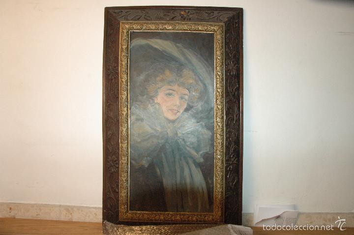 Arte: Mujer con lazo, Siglo XX, firmado R. Casas ¿Ramón Casas? - Foto 3 - 56330106