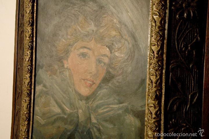 Arte: Mujer con lazo, Siglo XX, firmado R. Casas ¿Ramón Casas? - Foto 7 - 56330106