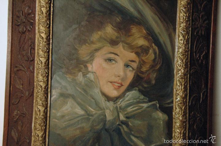 Arte: Mujer con lazo, Siglo XX, firmado R. Casas ¿Ramón Casas? - Foto 8 - 56330106