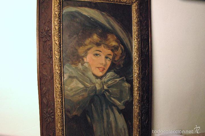 Arte: Mujer con lazo, Siglo XX, firmado R. Casas ¿Ramón Casas? - Foto 9 - 56330106