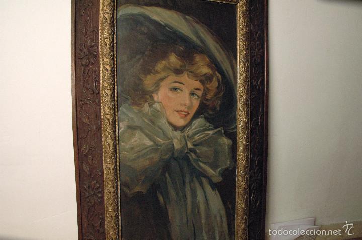 Arte: Mujer con lazo, Siglo XX, firmado R. Casas ¿Ramón Casas? - Foto 10 - 56330106