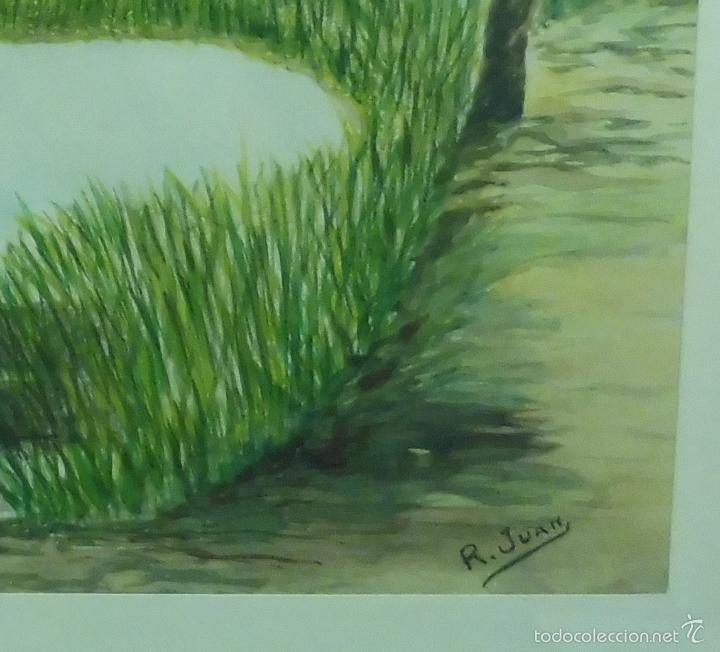 Arte: PINTURA AL ÓLEO SOBRE PAPEL MARINA LAGO FIRMADO POR: R. JUAN MEDIDAS: 69X45CM CD3* - Foto 2 - 56337193