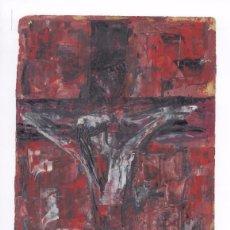 Arte: OLEO SOBRE PAPEL DE JULIO PUJALES RIVAS . FIRMADA 1959 . CRUCIFIXIÓN. GALICIA . SE ESCUCHAN OFERTAS. Lote 56390457
