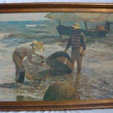 Arte: PINTURA SOBRE TABLEX ENMARCADO REPRODUCIÓN LOS PESCADORES DE SOROLLA. Lote 56400523