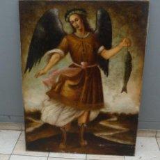 Arte: VIEJO, ARCANGEL SAN RAFAEL OLEO SOBRE LIENZO MEDIDA, 1.20 CM X 90 CM. Lote 73672378