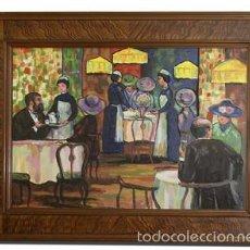 Arte: PINTURA ESCENA CAFETERÍA PINTURA ARTE. Lote 56534787