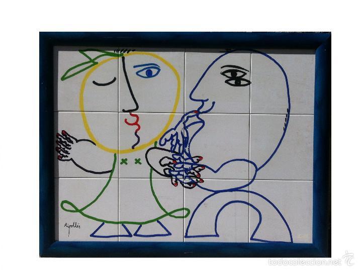 JUAN G. RIPOLLÉS (1932) - ENAMORADOS - ACRILICO SOBRE CERAMICA 80 X 60 CM. (Arte - Pintura - Pintura al Óleo Contemporánea )