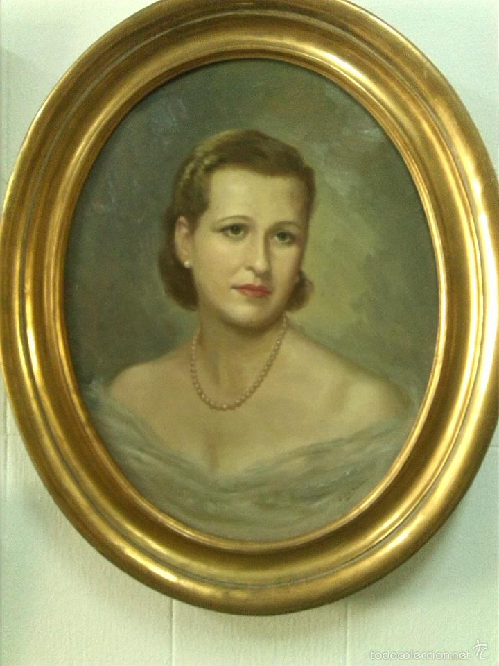 Retrato de se ora en marco ovalado madera dora comprar - Pintura dorada para madera ...