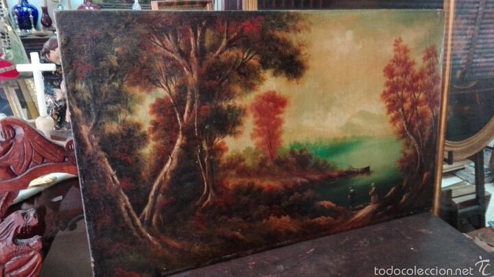 ANTIGUO OLEO PAISAJE COSTUMBRISTA, FIRMADO (Arte - Pintura - Pintura al Óleo Antigua siglo XVIII)
