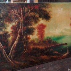 Arte: ANTIGUO OLEO PAISAJE COSTUMBRISTA, FIRMADO. Lote 56612304