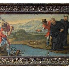 Arte: ÓLEO SOBRE LIENZO PAISAJE CON PERSONAJES SIGLO XVIII. Lote 191081881
