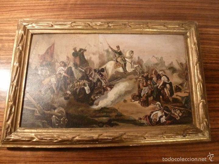 OLEO SOBRE CARTON BATALLA (Arte - Pintura - Pintura al Óleo Antigua sin fecha definida)