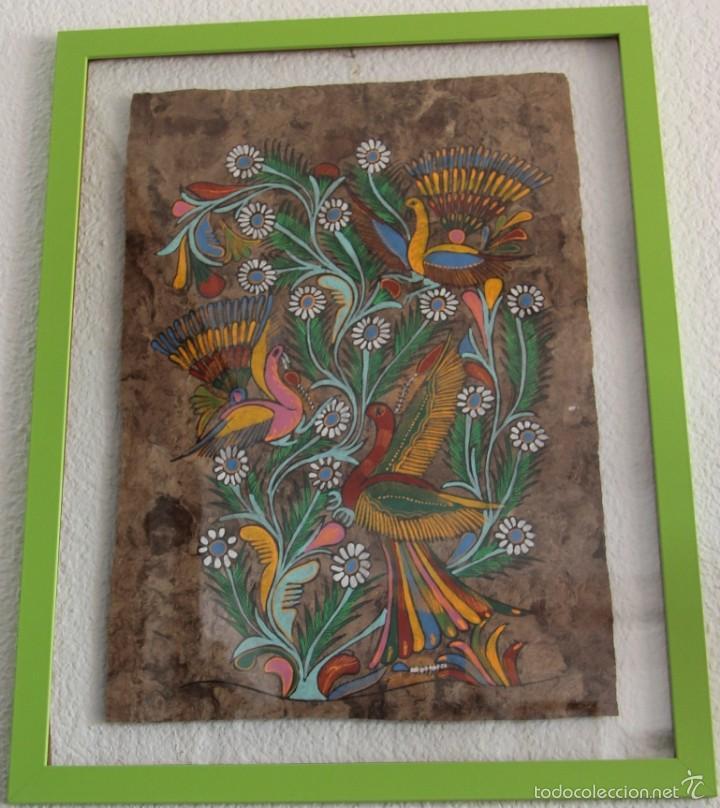magnifico cuadro mejicano pintado sobre corteza - Comprar Pintura al ...