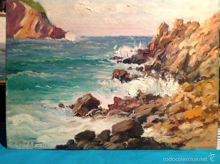 PINTURA ESPAÑOLA S. XX. PAISAJE DE LA COSTA DE MALLORCA / JOSÉP MIRET ALEU SE ENVÍA CON MARCO (Arte - Pintura - Pintura al Óleo Contemporánea )