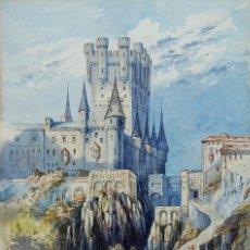 Arte: ALCAZAR DE SEGOVIA - ACUARELA ORIGINAL DEL SIGLO XIX - ¡ MEJOR VER...!. Lote 56912359