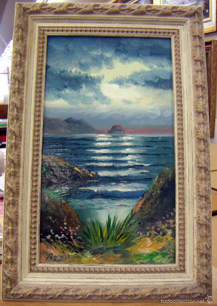 PINTURA AL OLEO CON MARCO FIRMA ILEGIBLE (Arte - Pintura - Pintura al Óleo Contemporánea )