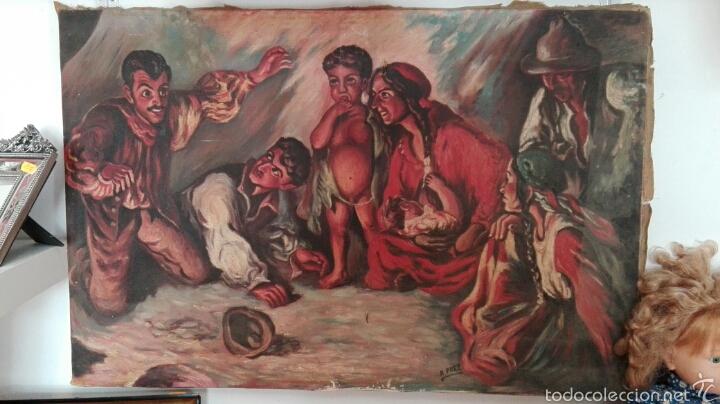 OLEO SOBRE LIENZO, GITANOS, AÑOS 30 (Arte - Pintura - Pintura al Óleo Moderna sin fecha definida)