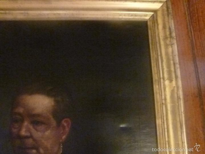 Arte: oleo sobre lienzo escuela mallorquina retrato de señora - Foto 3 - 57030058